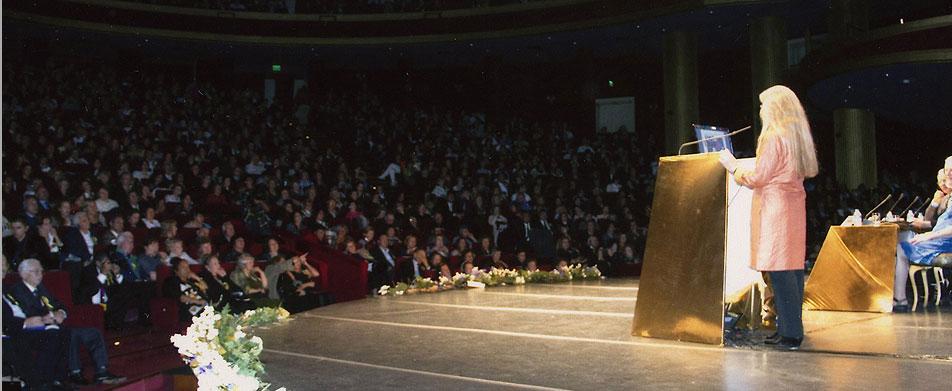 Katherine Josten speaks to a large, international audience